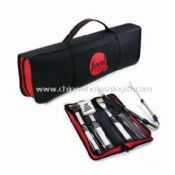 Picnic Barbecue Bag with 1.5mm Stainless Steel Blade and Tong with Wooden Handle images