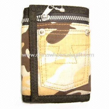 Mens Trifold Ripper Wallet Made of Cotton Fabric