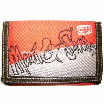 Nylon Mens Sports Tri-fold Ripper Wallet with Embroidery Pattern