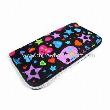 Womens Wallet in Fashionable Design with Stitching at Sides Made of Polyester