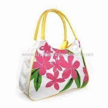 Canvas Beach Bag with Tropical Print