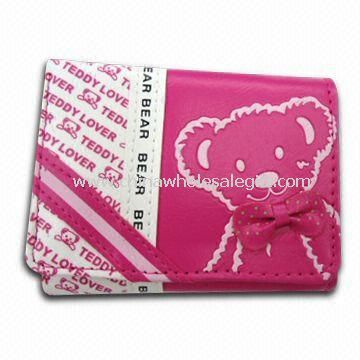 Womens PU Leather Wallet with Printing and 100% Nylon Lining
