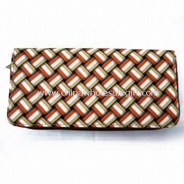 Womens PU Wallet with Stripe and 100% Nylon Lining