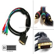 3-RCA to DVI-I For HDTV Stereo Cable images