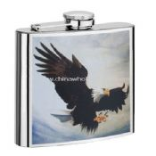 8OZ S/S Hip Flask with silk screen Printing images