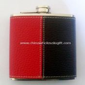 Leather-wrapped 3oz Water Transfer Hip Flask images