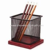 Mesh Pencil Holder with Wooden Base images
