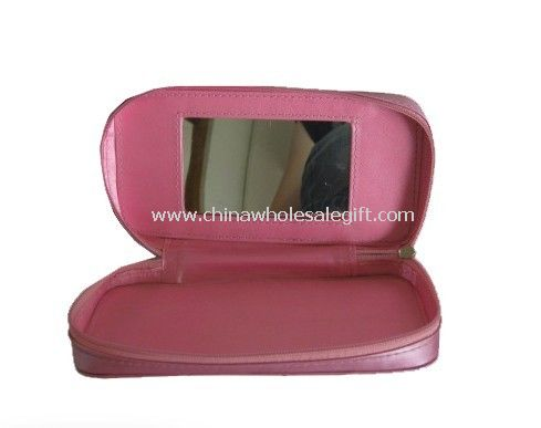 pu leather cosmetic bag with Mirror