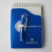 Spiral notebook with ball pen images