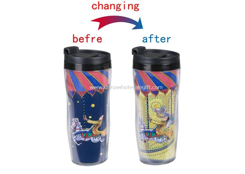 Cartoon color changing plastic mug