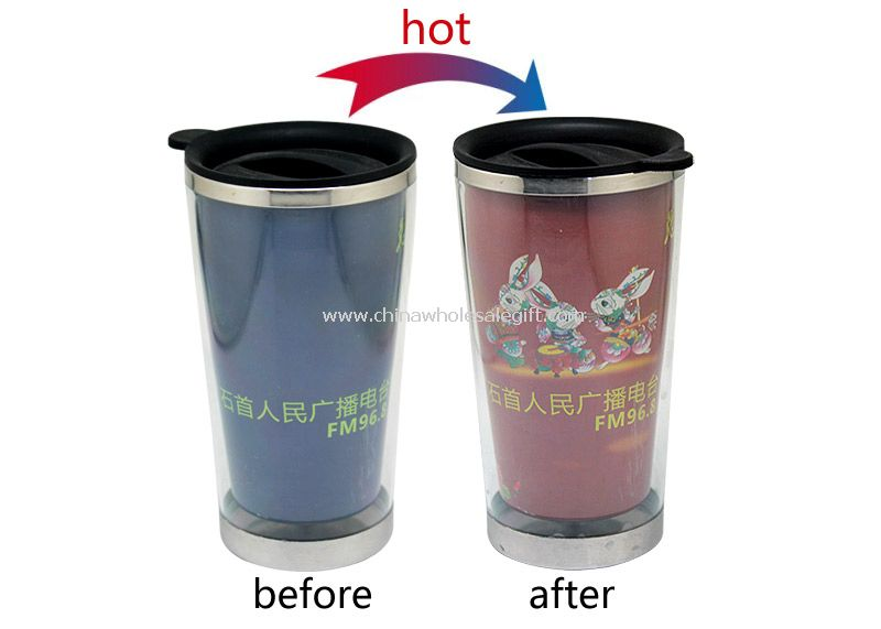 Hot color change stainless steel cup