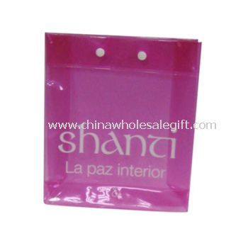 Pink Button Snapped PVC Bag For Cosmetic