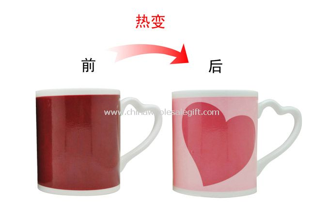 Hot color change heart cup