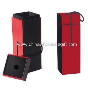 PU Wood Wine Box With Metal Lock