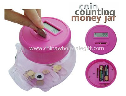 Coin Counting Piggy Money Jar