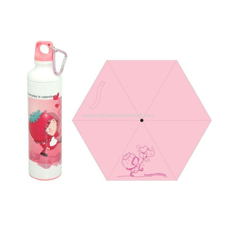 Little girl sports bottle umbrella