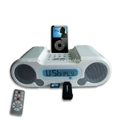Docking station for ipod with radio and LCD clock