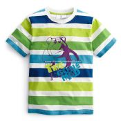 Boys and Childrens Short Sleeve Printing Striped T-shirt images