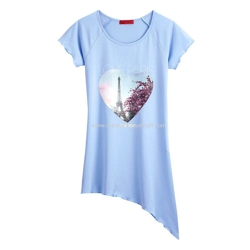 Womens cotton and spandex short sleeve printing t shirt for Cotton and elastane t shirts