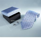 Silk necktie cufflinks with matching gift box images