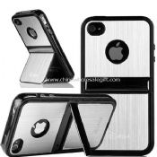 Silver Aluminum TPU Hard Stand Case For iphone4 4S images
