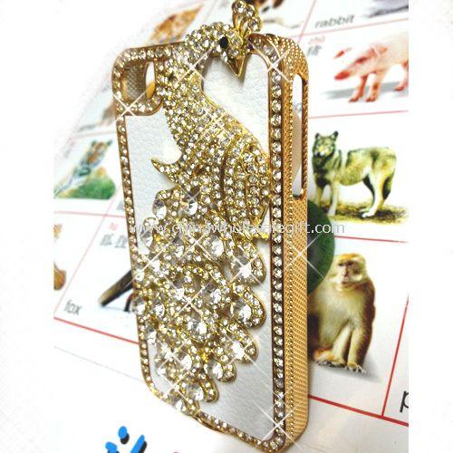 Peacock Bling Diamond Aluminium Hard Case Cover For iPhone4 4S