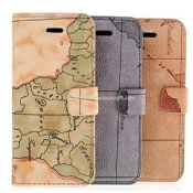 iPhone5 world map leather case with stand images
