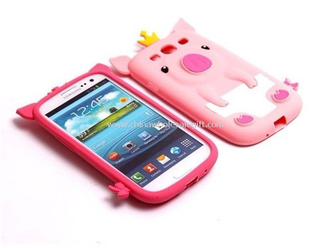 cute pig silicone rubber case for samsung galaxy s3 i9300