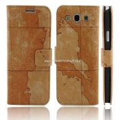 Luxury Map Leather Stand Case for Samsung Galaxy S3 I9300 images