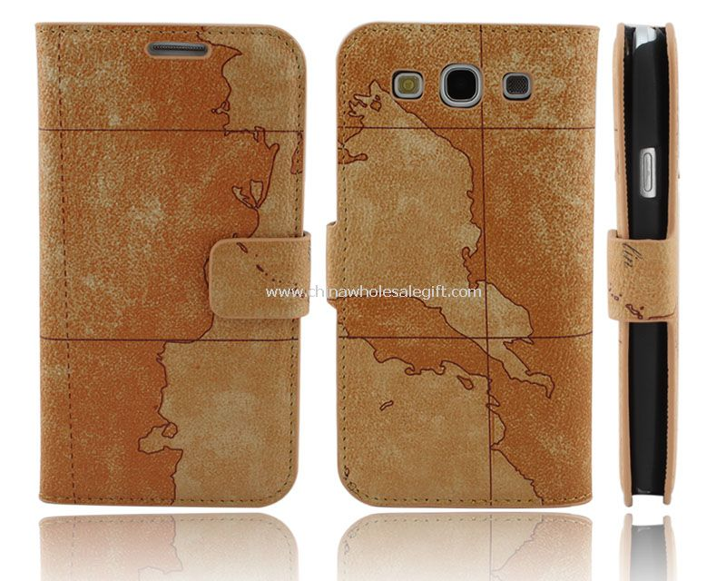 Luxury Map Leather Stand Case for Samsung Galaxy S3 I9300