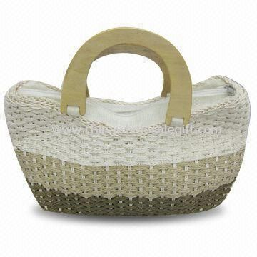 Crocheted Handbag with Wooden Handle