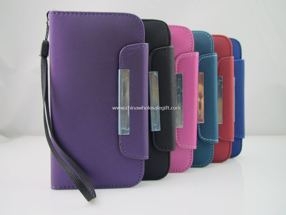 PU Leather Phone Case w/Wrist Strap Wallet Magnetic for Samsung Galaxy S4