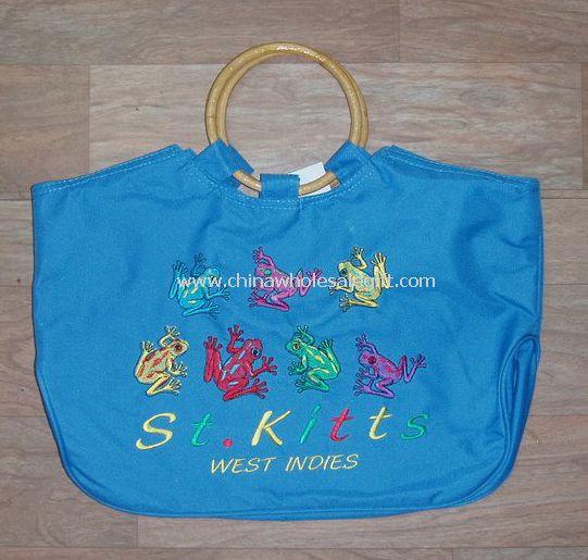 wooden handle beach bag