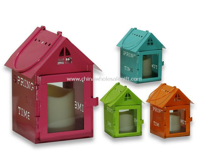metal house shape lanterns