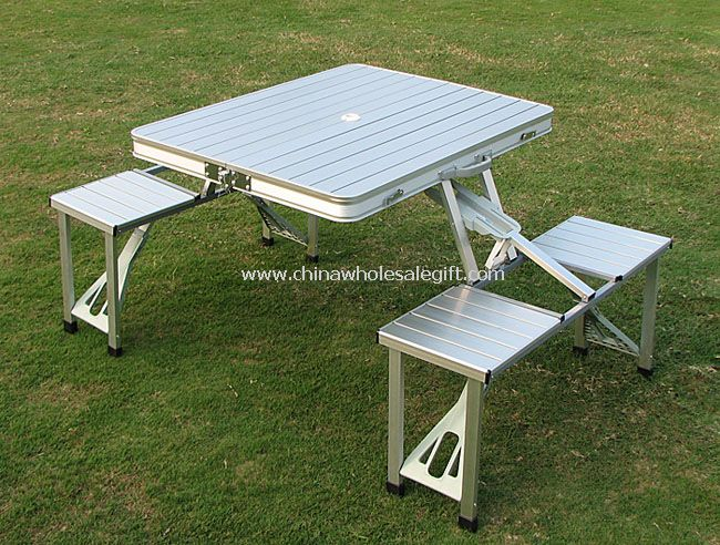 Metal Folding table with Benches