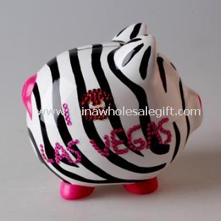 Ceramic Zebra Piggy Bank