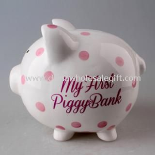 Polka Dot Ceramic Piggy Bank