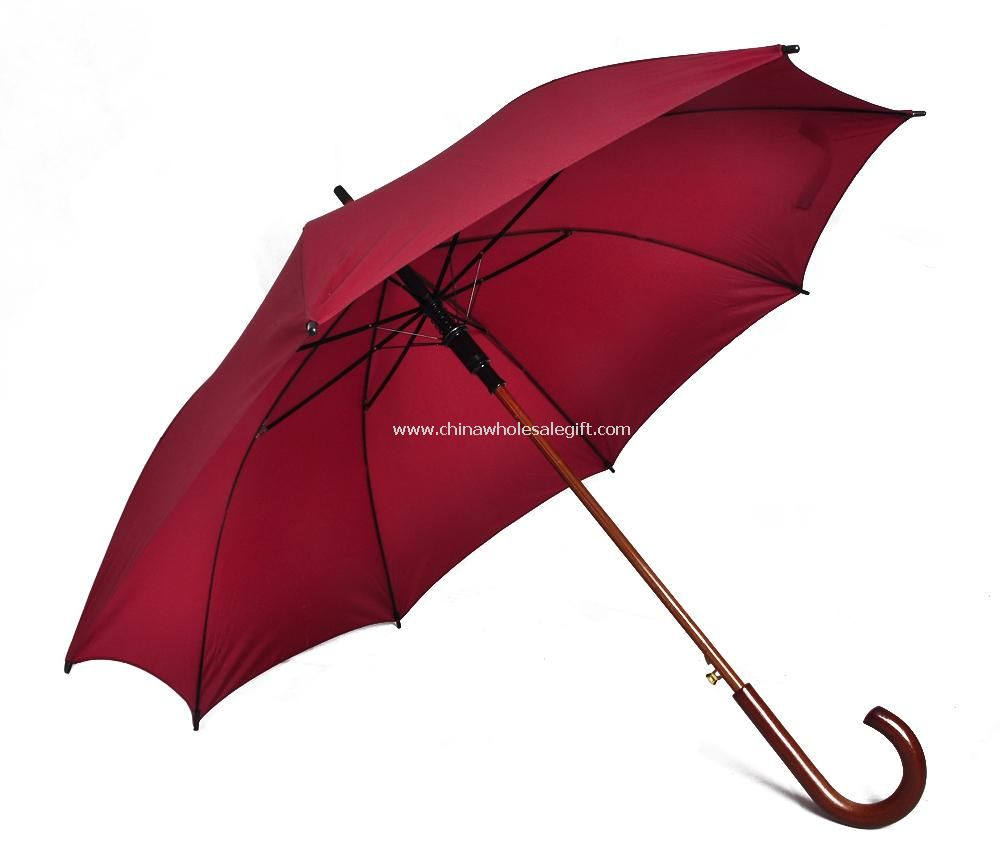 Straight Umbrella with Wooden Shaft and handle