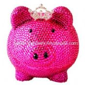 Pig Shaped Crystal Coin Bank Pink Color images