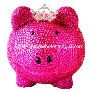 Pig shaped crystal coin bank pink color rhinestone money bank - Rhinestone piggy bank ...