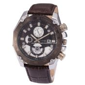 Men quartz watch with leather band images