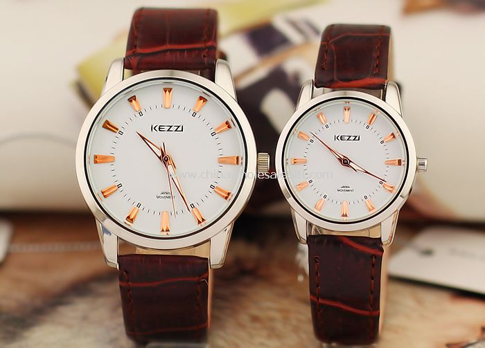 Leather band lover watch