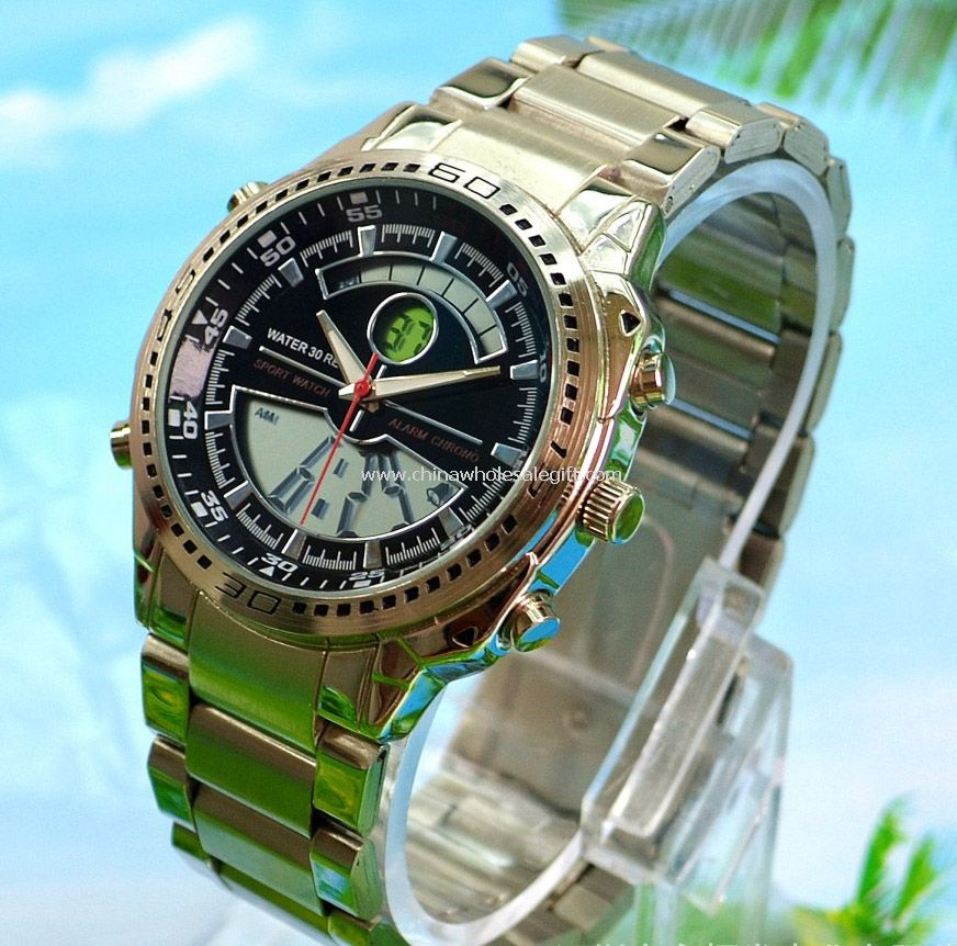 Double movement men sports watch