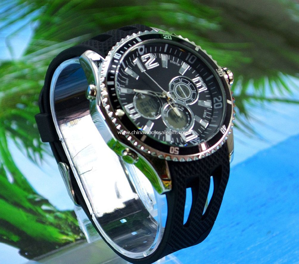 double movement waterproof sport watch