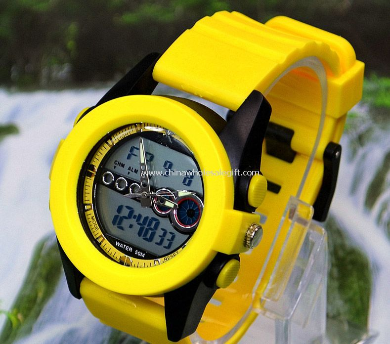Sports double movement watch