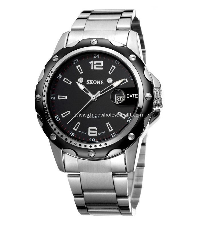 Stainless steel men watch with date