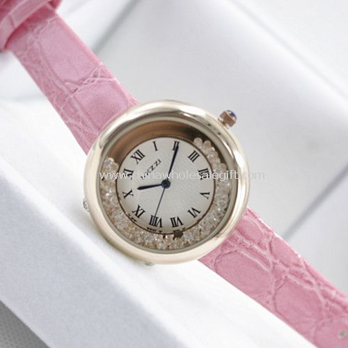 Leather band lady watch