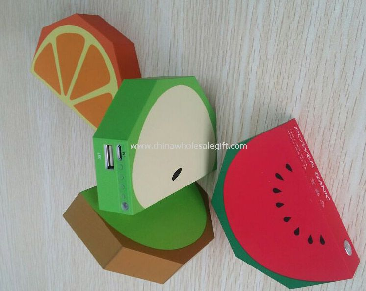 Fruits Design Universal 3000mah USB Power Bank for smart Phone