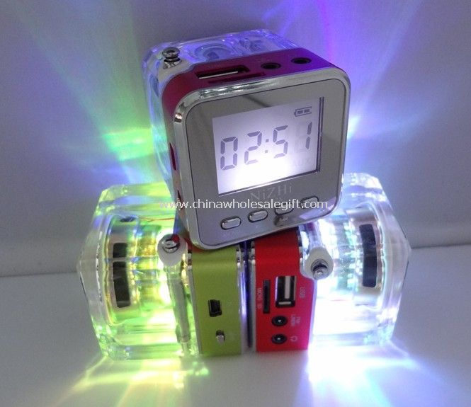 Radio FM Speaker With FM Antenna,LCD Display And Led Flashing Lights