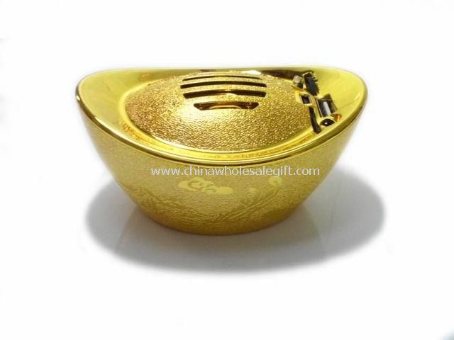 Portable mini gold ingot speakers with usb sd card